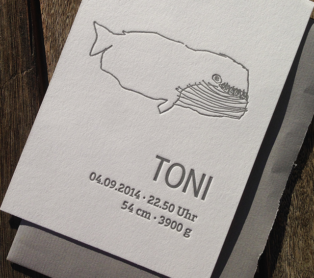 Danksagungskarte Baby Toni Letterpress 01