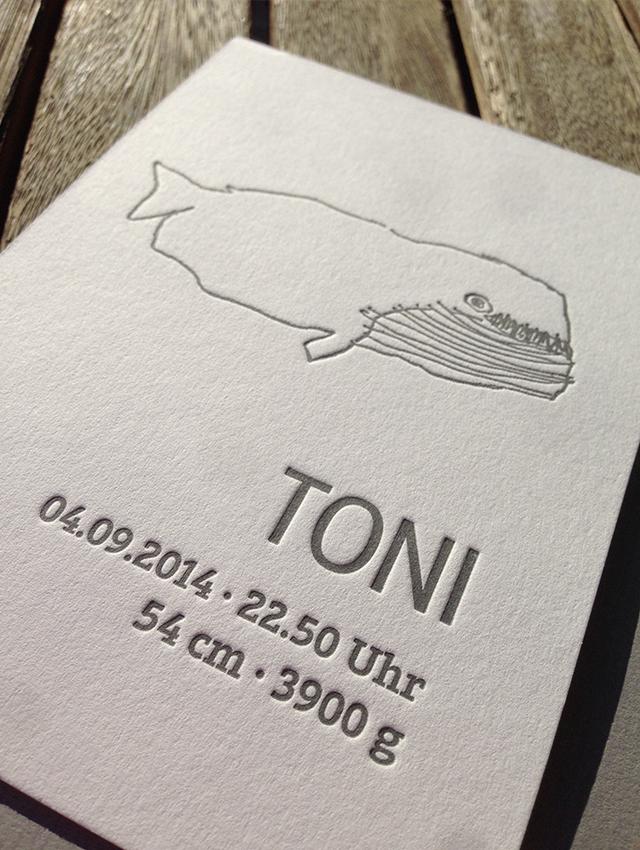 Danksagungskarte Baby Toni Letterpress 02