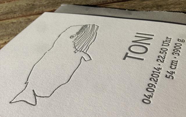 Danksagungskarte Baby Toni Letterpress 03
