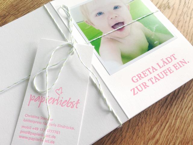 Einladungskarte Klappkarte Taufe Letterpress