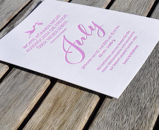 Danksagungskarte Baby July Letterpress 01