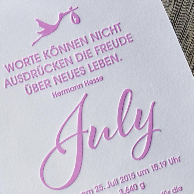 Danksagungskarte Baby July Letterpress 02