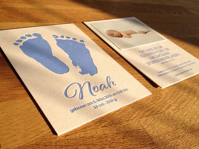 Danksagungskarte Baby Noah Letterpress 01