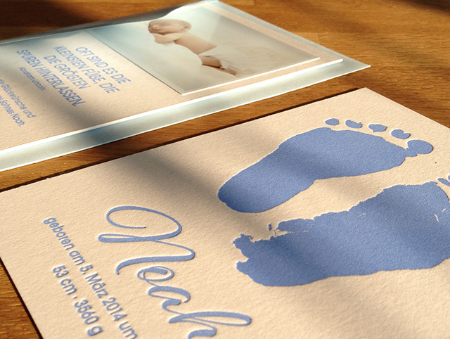 Danksagungskarte Baby Noah Letterpress 03